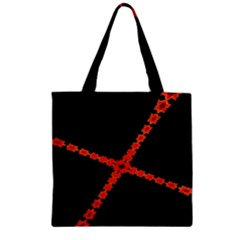 Red Fractal Cross Digital Computer Graphic Zipper Grocery Tote Bag