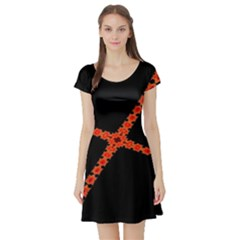 Red Fractal Cross Digital Computer Graphic Short Sleeve Skater Dress