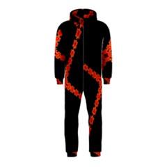 Red Fractal Cross Digital Computer Graphic Hooded Jumpsuit (Kids)