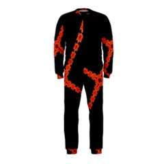 Red Fractal Cross Digital Computer Graphic OnePiece Jumpsuit (Kids)