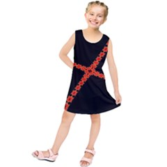 Red Fractal Cross Digital Computer Graphic Kids  Tunic Dress