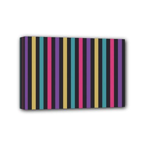 Stripes Colorful Multi Colored Bright Stripes Wallpaper Background Pattern Mini Canvas 6  x 4