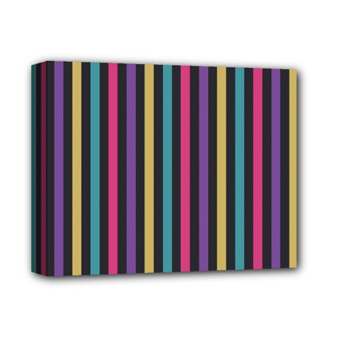Stripes Colorful Multi Colored Bright Stripes Wallpaper Background Pattern Deluxe Canvas 14  x 11