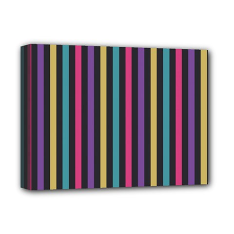 Stripes Colorful Multi Colored Bright Stripes Wallpaper Background Pattern Deluxe Canvas 16  x 12