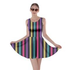 Stripes Colorful Multi Colored Bright Stripes Wallpaper Background Pattern Skater Dress