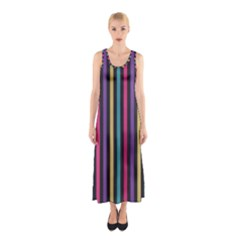 Stripes Colorful Multi Colored Bright Stripes Wallpaper Background Pattern Sleeveless Maxi Dress