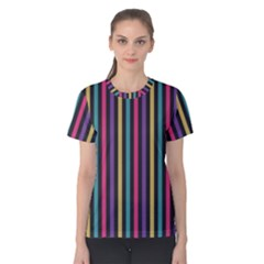 Stripes Colorful Multi Colored Bright Stripes Wallpaper Background Pattern Women s Cotton Tee