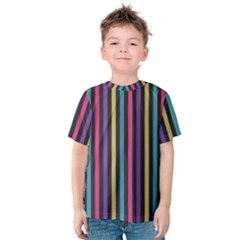 Stripes Colorful Multi Colored Bright Stripes Wallpaper Background Pattern Kids  Cotton Tee