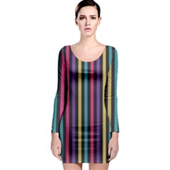 Stripes Colorful Multi Colored Bright Stripes Wallpaper Background Pattern Long Sleeve Bodycon Dress