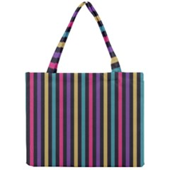 Stripes Colorful Multi Colored Bright Stripes Wallpaper Background Pattern Mini Tote Bag