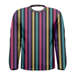 Stripes Colorful Multi Colored Bright Stripes Wallpaper Background Pattern Men s Long Sleeve Tee