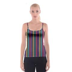 Stripes Colorful Multi Colored Bright Stripes Wallpaper Background Pattern Spaghetti Strap Top