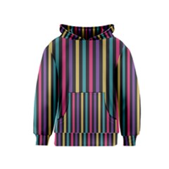 Stripes Colorful Multi Colored Bright Stripes Wallpaper Background Pattern Kids  Pullover Hoodie