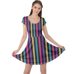Stripes Colorful Multi Colored Bright Stripes Wallpaper Background Pattern Cap Sleeve Dresses