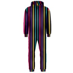 Stripes Colorful Multi Colored Bright Stripes Wallpaper Background Pattern Hooded Jumpsuit (Men)