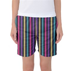 Stripes Colorful Multi Colored Bright Stripes Wallpaper Background Pattern Women s Basketball Shorts