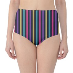 Stripes Colorful Multi Colored Bright Stripes Wallpaper Background Pattern High-Waist Bikini Bottoms