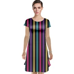Stripes Colorful Multi Colored Bright Stripes Wallpaper Background Pattern Cap Sleeve Nightdress