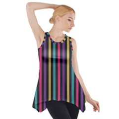 Stripes Colorful Multi Colored Bright Stripes Wallpaper Background Pattern Side Drop Tank Tunic