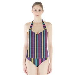 Stripes Colorful Multi Colored Bright Stripes Wallpaper Background Pattern Halter Swimsuit