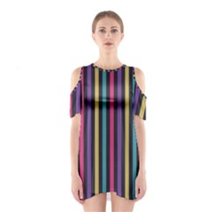 Stripes Colorful Multi Colored Bright Stripes Wallpaper Background Pattern Shoulder Cutout One Piece