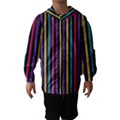 Stripes Colorful Multi Colored Bright Stripes Wallpaper Background Pattern Hooded Wind Breaker (Kids)