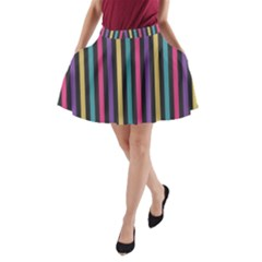 Stripes Colorful Multi Colored Bright Stripes Wallpaper Background Pattern A-Line Pocket Skirt