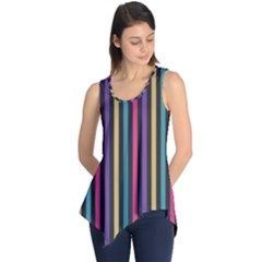Stripes Colorful Multi Colored Bright Stripes Wallpaper Background Pattern Sleeveless Tunic