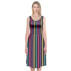 Stripes Colorful Multi Colored Bright Stripes Wallpaper Background Pattern Midi Sleeveless Dress