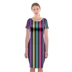 Stripes Colorful Multi Colored Bright Stripes Wallpaper Background Pattern Classic Short Sleeve Midi Dress