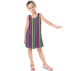 Stripes Colorful Multi Colored Bright Stripes Wallpaper Background Pattern Kids  Sleeveless Dress