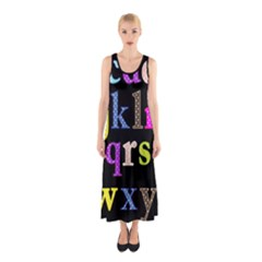 Alphabet Letters Colorful Polka Dots Letters In Lower Case Sleeveless Maxi Dress