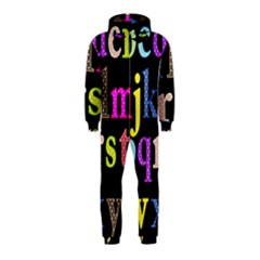 Alphabet Letters Colorful Polka Dots Letters In Lower Case Hooded Jumpsuit (Kids)