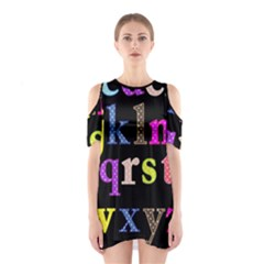 Alphabet Letters Colorful Polka Dots Letters In Lower Case Shoulder Cutout One Piece