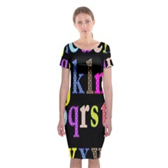 Alphabet Letters Colorful Polka Dots Letters In Lower Case Classic Short Sleeve Midi Dress