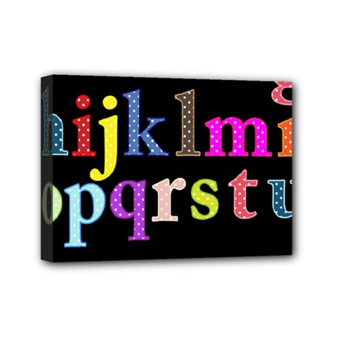 Alphabet Letters Colorful Polka Dots Letters In Lower Case Mini Canvas 7  X 5