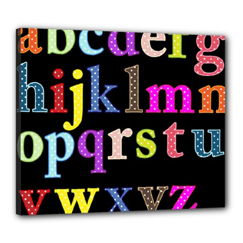 Alphabet Letters Colorful Polka Dots Letters In Lower Case Canvas 24  X 20