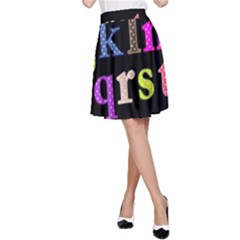 Alphabet Letters Colorful Polka Dots Letters In Lower Case A-Line Skirt