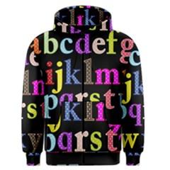 Alphabet Letters Colorful Polka Dots Letters In Lower Case Men s Zipper Hoodie