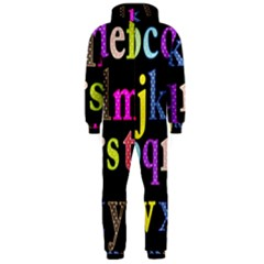 Alphabet Letters Colorful Polka Dots Letters In Lower Case Hooded Jumpsuit (Men)