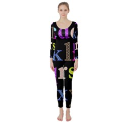 Alphabet Letters Colorful Polka Dots Letters In Lower Case Long Sleeve Catsuit