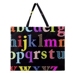 Alphabet Letters Colorful Polka Dots Letters In Lower Case Zipper Large Tote Bag