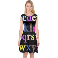 Alphabet Letters Colorful Polka Dots Letters In Lower Case Capsleeve Midi Dress