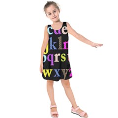 Alphabet Letters Colorful Polka Dots Letters In Lower Case Kids  Sleeveless Dress