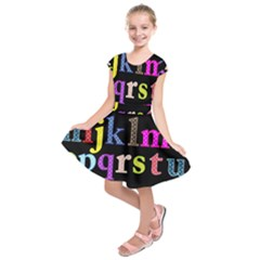 Alphabet Letters Colorful Polka Dots Letters In Lower Case Kids  Short Sleeve Dress