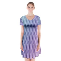 Abstract Lines Background Short Sleeve V-neck Flare Dress