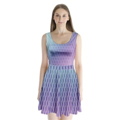 Abstract Lines Background Split Back Mini Dress