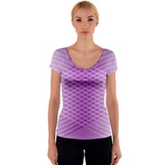 Abstract Lines Background Pattern Women s V-Neck Cap Sleeve Top