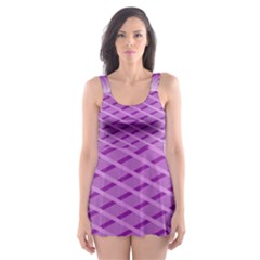 Abstract Lines Background Pattern Skater Dress Swimsuit