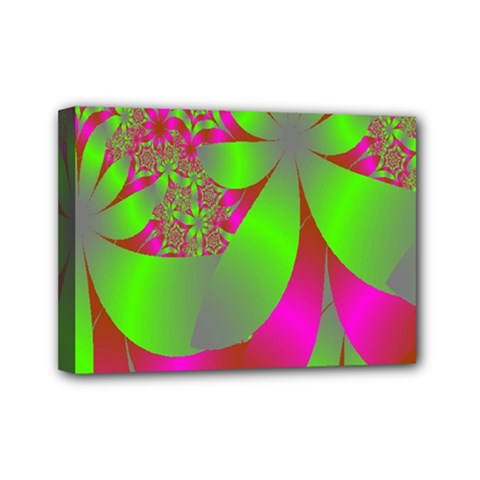 Green And Pink Fractal Mini Canvas 7  X 5
